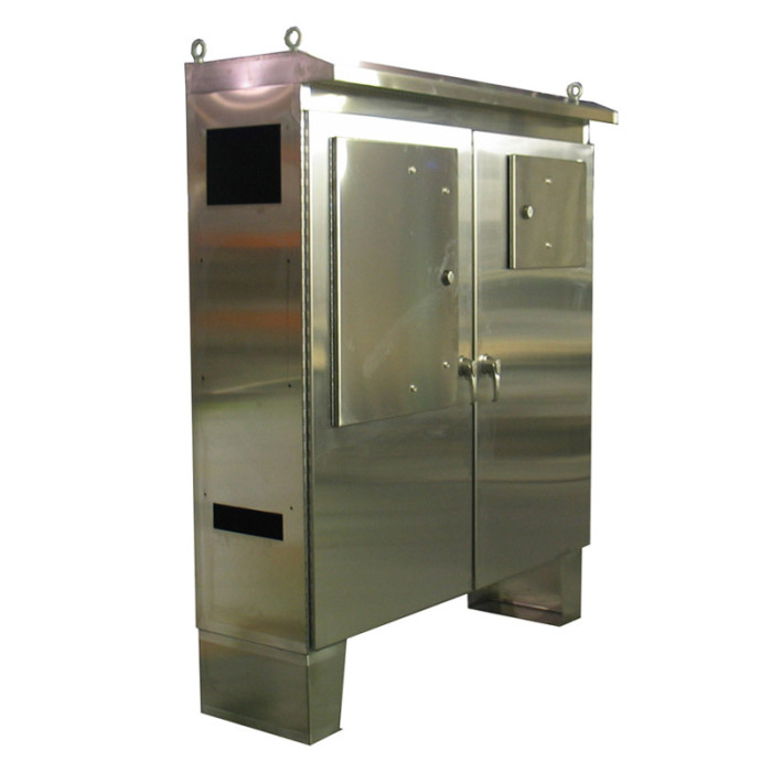 Custom stainless cabinet w vented top heritage for Custom stainless steel cabinet doors