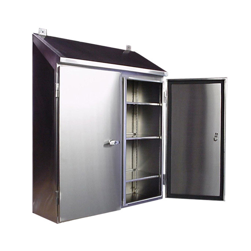 Stainless Steel Control Cabinet   Wall Mount Double Door W/ Sloped Top