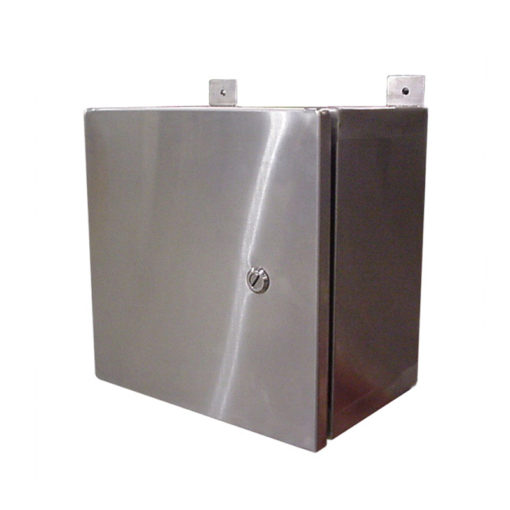 Stainless steel control cabinet wall mount single door for Custom stainless steel cabinet doors