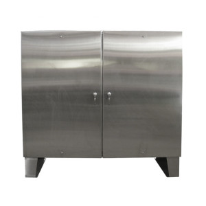 Stainless steel cabinet floor mount double door 48 hx72 for Custom stainless steel cabinet doors