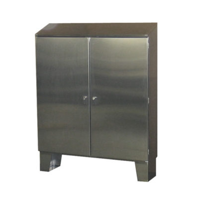 Stainless Steel Cabinet - Floor Mount Double Door w/Sloped Top