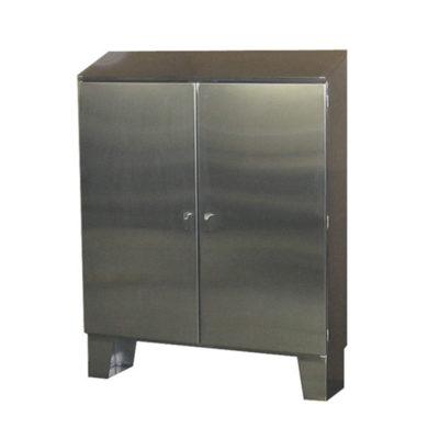 Stainless Steel Cabinet - Floor Mount Double Door w/Sloped Top