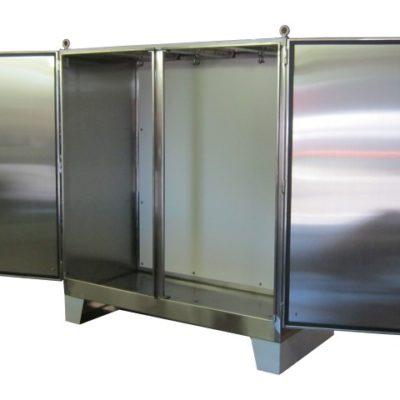 Floor mount double door enclosures heritage for Custom stainless steel cabinet doors