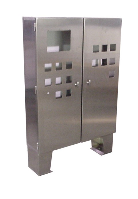 Stainless steel control cabinets floor mount double door for Custom stainless steel cabinet doors