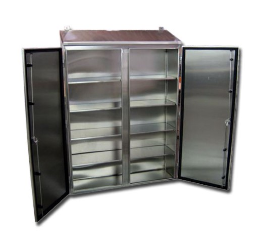 Stainless steel control cabinets wall mount double door for Custom stainless steel cabinet doors